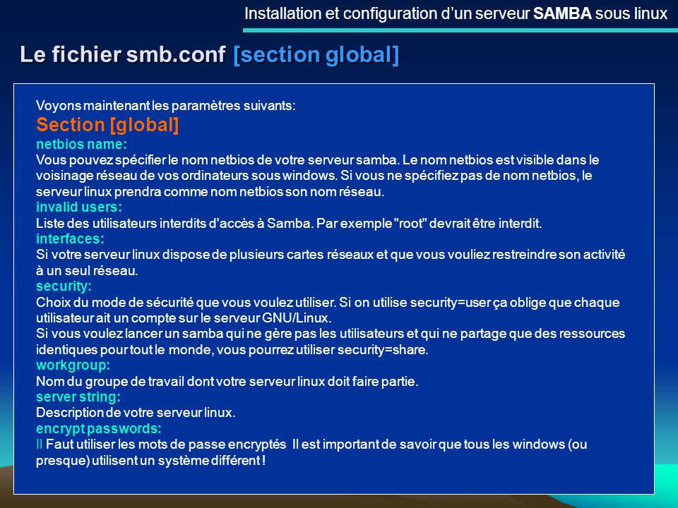Le fichier smb.conf [section global]